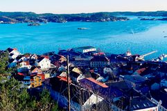 Bay with an old port over the fjord Royalty Free Stock Image