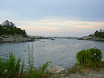 Bay outside of Newport Rhode Island. A calm bay located just outside of Newport, Rhode Island. A nice place to be at the end of a day royalty free stock photography