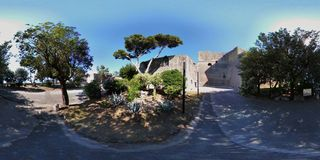 Bay - 360 overview of the castle park. Bacoli, Naples, Campania, Italy - June 16, 2018: Spherical photo of the park of the Aragonese Castle of Baia Stock Photos