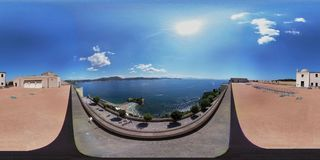 Bay - 360 Overview from the castle terrace. Bacoli, Naples, Campania, Italy - June 16, 2018: Photo spherical from the terrace of the Aragonese Castle of Baia Royalty Free Stock Photography