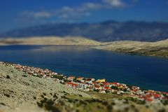 Coastal Landscape with Houses. View of Coastal Landscape with Blue Sea Royalty Free Stock Photography