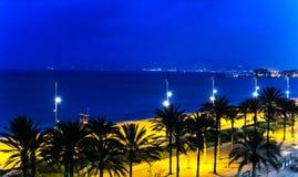 The bay of Palma de Mallorca at night Royalty Free Stock Photography