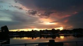 Bay Park, Crystal河佛罗里达Sunsets45国王 图库摄影
