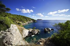 Bay of Pigno. Saint Domino Island. Tremiti, Puglia, Italy royalty free stock photos