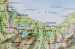 Bay of plenty on map. Close up shot of bay of plenty on map Stock Photography