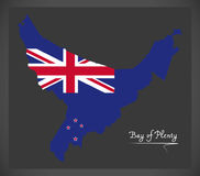 Bay of Plenty New Zealand map with national flag Stock Photo