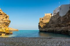 The Bay of Polignano a Mare Built on the Cliff near Bari, in Italy stock image