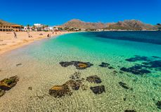 Spain Majorca island, beach seaside of Port de Pollensa royalty free stock photography