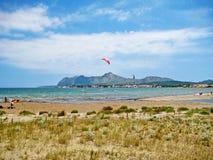 Bay of Pollenca with kite surfers / peninsula Victoria, north Majorca Stock Photo
