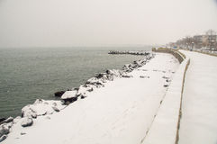 In the Bay of Pomorie in Bulgaria, winter royalty free stock photos