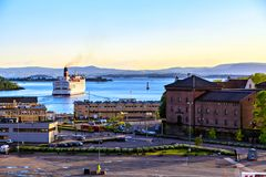 Bay, port and the ship, Oslo, Norway Stock Photography