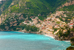 The bay of Positano. A view of Positano on Italys Amalfi Coast Stock Photo