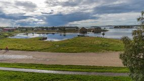 Bay Prosperity (view from the ramparts). Big Solovetsky Island, Russia stock photos