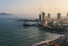 The Bay of Qingdao. Overlook view of Qingdao bay during the sunset period stock images