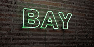 BAY -Realistic Neon Sign on Brick Wall background - 3D rendered royalty free stock image royalty free stock photo