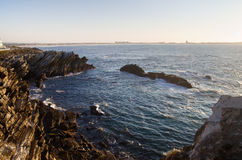 Bay of rocks in Baleal Royalty Free Stock Photo