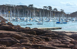 Bay with sailboats (Brittany, France). Royalty Free Stock Photography
