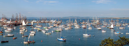 Bay with the sailing ships. Panorama of a bay with the sailing ships stock image