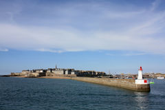 The bay of Saint-Malo, France. Picture taken in June 2011, from the ferry. Entrance of the port Royalty Free Stock Photo