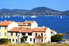 Bay of Saint Tropez in France. With buildings in the foreground royalty free stock photo