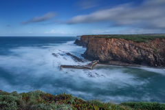 Bay Seascape with blurred waves. Stock Images