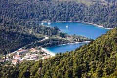 Bay in a shape of a heart on Skopelos island Royalty Free Stock Photo