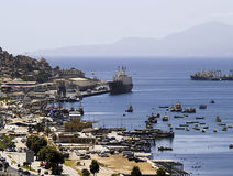 Bay with ships and boats stock image