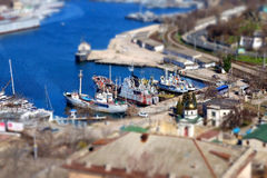 Bay with ships Royalty Free Stock Photography