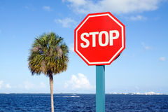 Bay Side Stop Sign. Stop Sign located along Miami's Biscayne Bay with a blue sky background and palm tree royalty free stock photo
