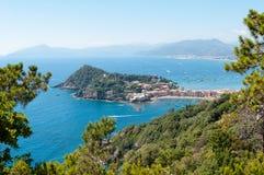 Bay of Silence. From Punta Manara view of Baia del Silenzio in Sestri Levante and the Tigullio Gulf - Ligurian Sea royalty free stock photos