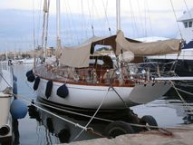 In the harbor of Sliema, there are magnificent yachts. Malta. In the bay of Sliema there are many yachts. Sports and pleasure yachts in the harbor are waiting Royalty Free Stock Images