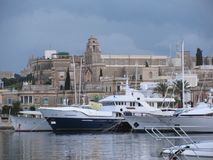 In the harbor of Sliema, there are magnificent yachts. Malta. In the bay of Sliema there are many yachts. Sports and pleasure yachts in the harbor are waiting Stock Images