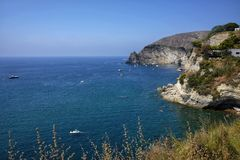 Bay of sorgeto in Ischia in Italy. Day royalty free stock photos