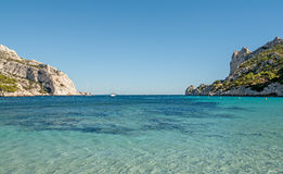 Bay Sormiou near Marseille in France. View of the bay Calanque Sormiou near Marseille in South France Stock Photo