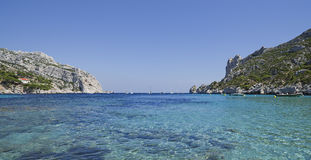 The bay Sormiou in South France. The bay Sormiou in the Calanques near Marseille in South France Royalty Free Stock Photo