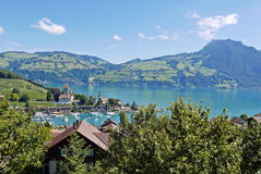Bay of Spiez. Panorama of bay of Spiez and lake Thun in the Bernese Alps, switzerland Stock Images