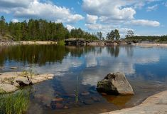 The bay with stones. The small bay on Ladoga lake Stock Photo