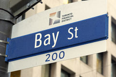 Bay Street sign in Toronto downtown Stock Photography