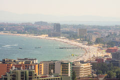 Bay Sunny Beach: beach, hotels and boats, Bulgaria Stock Photography