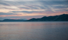 Bay at sunset near Methoni, Peloponnese, Greece Royalty Free Stock Photography