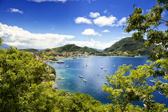 Bay of Terre-de-Haut, Les Saintes, Guadeloupe. Town and bay of Terre-de-Haut, capital of Les Saintes islands, Guadeloupe archipelago, Caribbean Sea Stock Photos