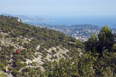 Bay of Toulon and the cable Faron. Red Cable Faron and view of Bay of Toulon and French riviera coast Royalty Free Stock Photos