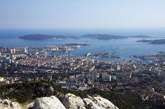 Bay of Toulon and city on french riviera Stock Photos