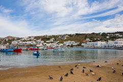 Bay in the town of Mykonos Island with boats Stock Photo