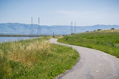 The bay trail at Shoreline Park, Mountain View, San Francisco bay area, California royalty free stock image