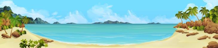 Bay, tropical beach. Sea panorama. Bay tropical beach. Vector background Stock Photography