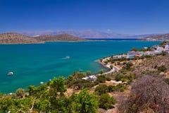 Bay with turquoise lagoon on Crete. Mirabello Bay with turquoise lagoon on Crete, Greece Royalty Free Stock Photo