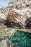 A bay with turquoise water in the rocks on the sea, Cape Greco, Stock Photo
