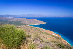 Bay view with blue lagoon on Crete Stock Images