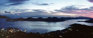 Bay view at dusk, panoramic view Stock Images